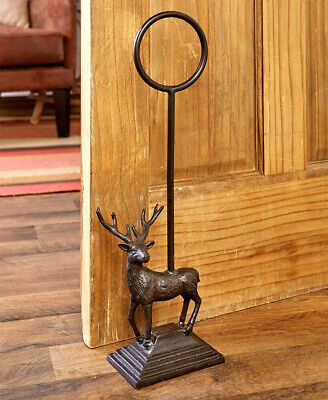 Cast Iron Heavy DEER Door Stop Stopper Handle Country Farmhouse Rustic Primitive