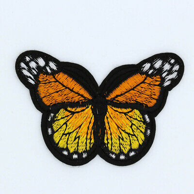 Orange Monarch Butterfly-Embroidered-iron on Patches bulk-Applique-Free Shipping