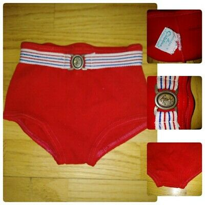 Rare Vtg 1960S Boys Toddler Sz 3T Swimsuit Speedo Catalina Of Ca 3 Red Belted