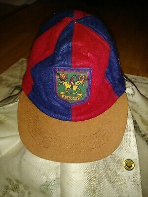 Rare Vtg Acrylic Childs Hat Academy Maroon Blue Man On Horse Coat Of Arms