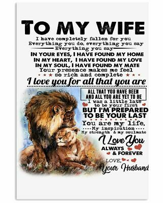 """Disney The Lion King Mufasa To My Gorgeous Wife I Love You Paper Poster 24""""x36"""""""