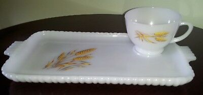 Anchor Hocking Fire King Wheat Pattern Snack Tray with Cup