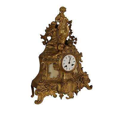 Gilded Bronze and White Marble Fireplace Clock France Late 1800