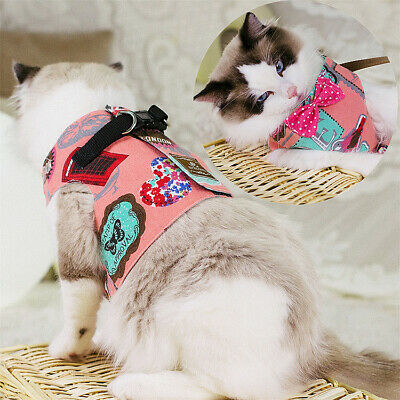 Adjustable Cat Harness and Leash Nylon Kitten Puppy Walking Lead Bowknot Clothes