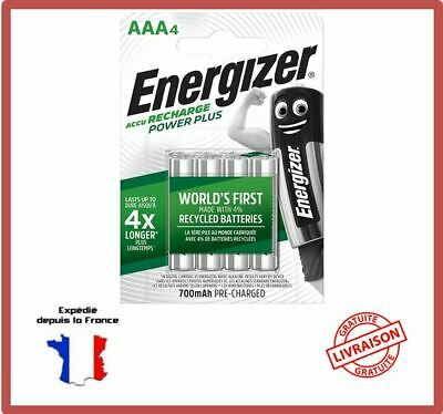Piles Rechargeables AAA HR03 700 mAh 1,2V NiMH Energizer Power Plus Accus Par 4