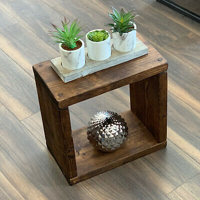 Side Table Chic Coffee Rustic Chunky Wood Bed Solid Sleeper Cube Lamp Cabinet