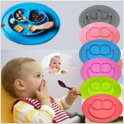 ANTI SLIP Cute Silicone Kids Baby Snack Food Mat Tray Large Bowl Feeding Plate