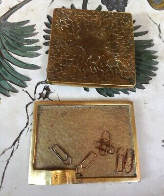 Art Deco Bronze Messing Set Schreibtisch Aschenbecher  - office set card holder