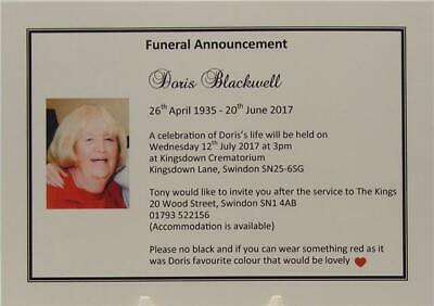 Personalised Funeral Announcement Bereavement Ivory Cards and Envelopes