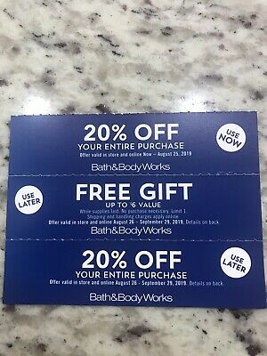 3 BATH AND BODY WORKS Coupons *GIFT* *20% OFF - USE NOW-USE LATER*