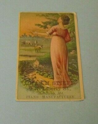 Stieff Pianos Woman Welcoming the Day & Cattle Victorian Trade Card Baltimore MD