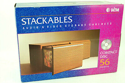 Stackables Audio Video Storage Cabinet Holds 56 CDs Wood Grain Slotted Drawers