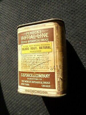 Antique tin S.B. Penick & Co Initial Line Tested Botanical Drugs Blood Root
