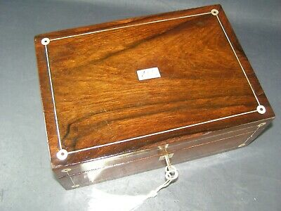 Antique Rosewood Desk Top Box Working Lock & Key c1870 Mother Of Pearl Roundels