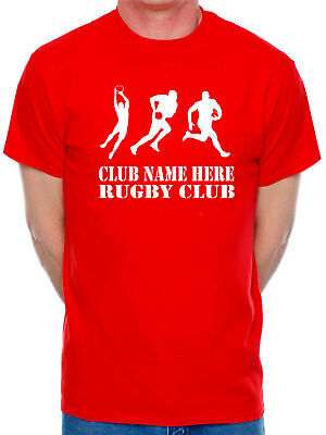 Mens T-Shirt Personalised Rugby Club Name Here Choose Your Team Name