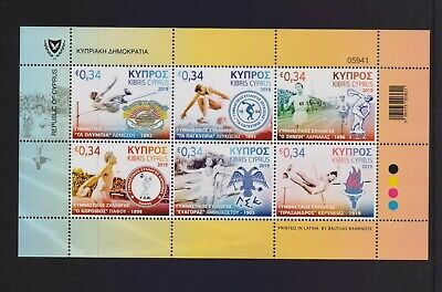 Cyprus 2019 Athletic Clubs Mnh Set Stamps Sheetlet Combined Shipping