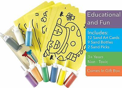 CreativeSandStore Sand Art Cards, 12 A4 Template Pictures, 9 Coloured Sand