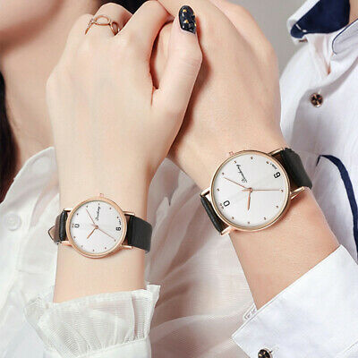 Fashion Men Women Casual Without Scale Dial Leather Strap Couple Quartz Watches