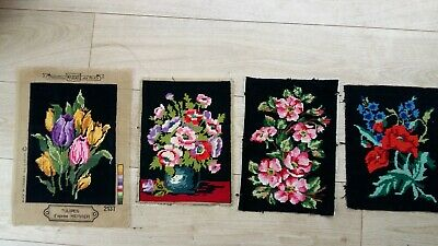 "Handworked completed  tapestries ""'4 FLOWERS"" different sizes"