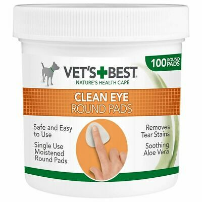 Vet's Best Eye Cleaning Aloe Vera Soft Pads For Dogs Tear Stains Cleansing x 100