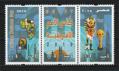 Egypt - 2019 - Strip of 3 - ( African Nations Cup - CAF - Egypt, 2019 ) - MNH**