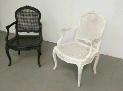 Pair of vintage French Provincial Louis XV style Cane Fauteuil armchairs.