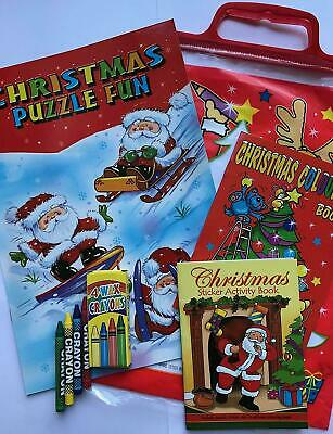 Kids 4Pc Christmas Activity Pack Party Gift Bag Colouring Stickers Crayons