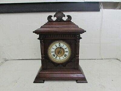 Antique Ansonia Clock Co Sharon Strike 8 Day Mantel, Cabinet Clock, Fully Runnin