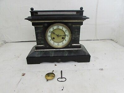 Antique Junghans Wooden Cased Marble & Slate Effect Mantel Clock, Fully Working