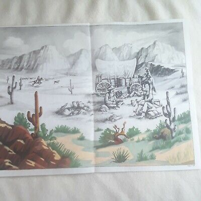 Vintage Tri Chem Picture Felt Poster Cowboys Covered wagon Southwestern Scenery