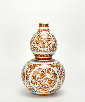Superb Chinese Qing Qianlong Coral Red Glazed Dragon Double Gourd Porcelain Vase