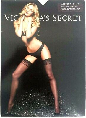 Victoria's Secret Lace Top Thigh High stockings WHITE Size: B