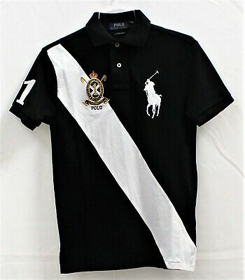 Ralph Lauren Polo Mens Big Pony Custom Slim Fit S/S Shirt Black/White Sz L
