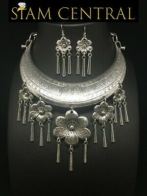 Flower Hmong Silver-Plated Necklace Jewelry Thai Karen Tribe Hill + Earrings #2