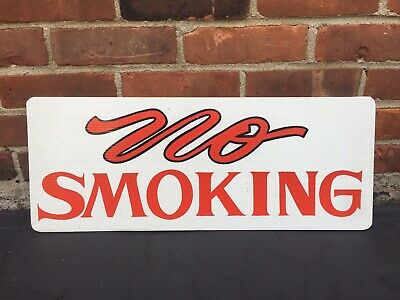Vintage Hand Painted No Smoking Sign Industrial Factory Motorcycle Lettering Usa