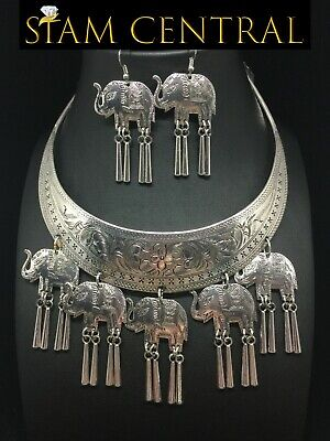 Elephant Hmong Silver-Plated Necklace Jewelry Thai Karen Tribe Hill +Earrings #2