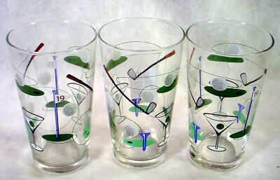 3 GOLF Golfer PINT GLASS Tumbler SET Martini COCKTAIL Beer CLUB Tee GOLFING
