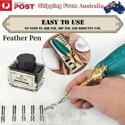 AU Feather Writing Fountain Caligraphy Dip Pen Quill w/5 Nibs & Box Set Gifts