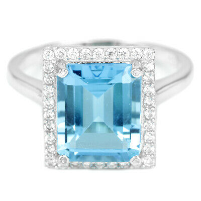 Genuine Aaa Swiss Blue Topaz 11X9 Mm. & White Cz Sterling 925 Silver Ring Size 8