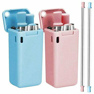 Reusable Foldable Metal Drinking Straw + Cleaning Brush + Portable Storage Case!