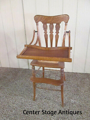 44866 Antique Victorian Tiger Oak Hi- Chair  Youth High Chair with Tray