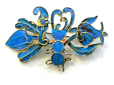 Qing Dynasty Kingfisher Feather Tian-Tsui Brooch Bee on Flower Antique Chinese