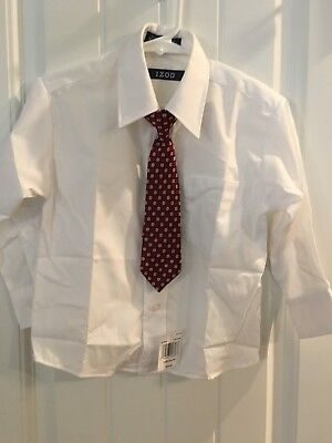 NEW Izod Button Down 4T Boys 4 Toddler Shirt White Red Black Tie