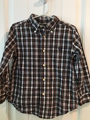 Chaps Button Down 4T Boys 4 Toddler Shirt Black Yellow Plaid Red