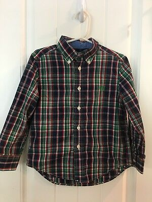 Chaps Button Down 4T Boys 4 Toddler Shirt Blue Green Plaid Red