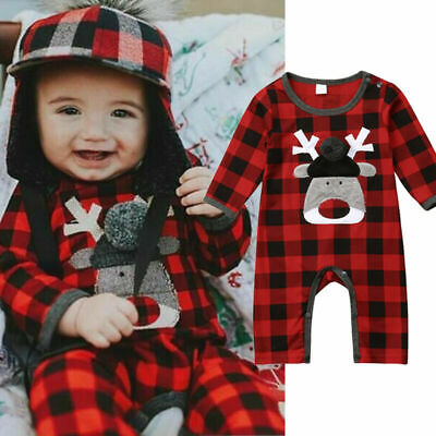Newborn Baby Boy Girl Xmas Deer Romper Jumpsuit Playsuit Clothes Outfits 0-18M
