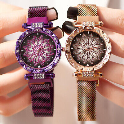 Starry Sky Watch Magnetic Milanese Loop Band Quartz Diamond Watches for Women's