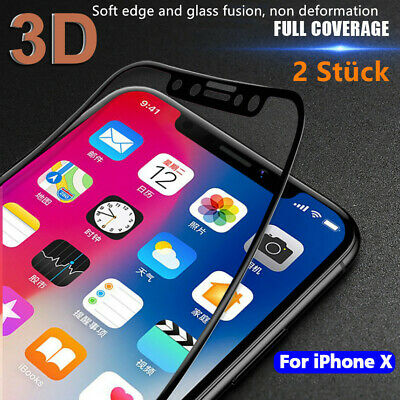 2x 3D Glas für iPhone X Panzerfolie Schutzfolie Full Cover Hartglas 9H Display