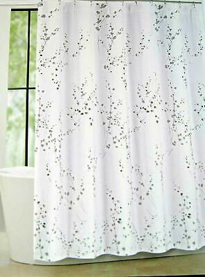 Tahari Watercolor Hollyhock Floral Fabric Shower Curtain White Rose Olive Cotton