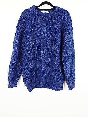Mens 100% Wool Retro Vintage 80's Style Jumper Size L Chunky Knit